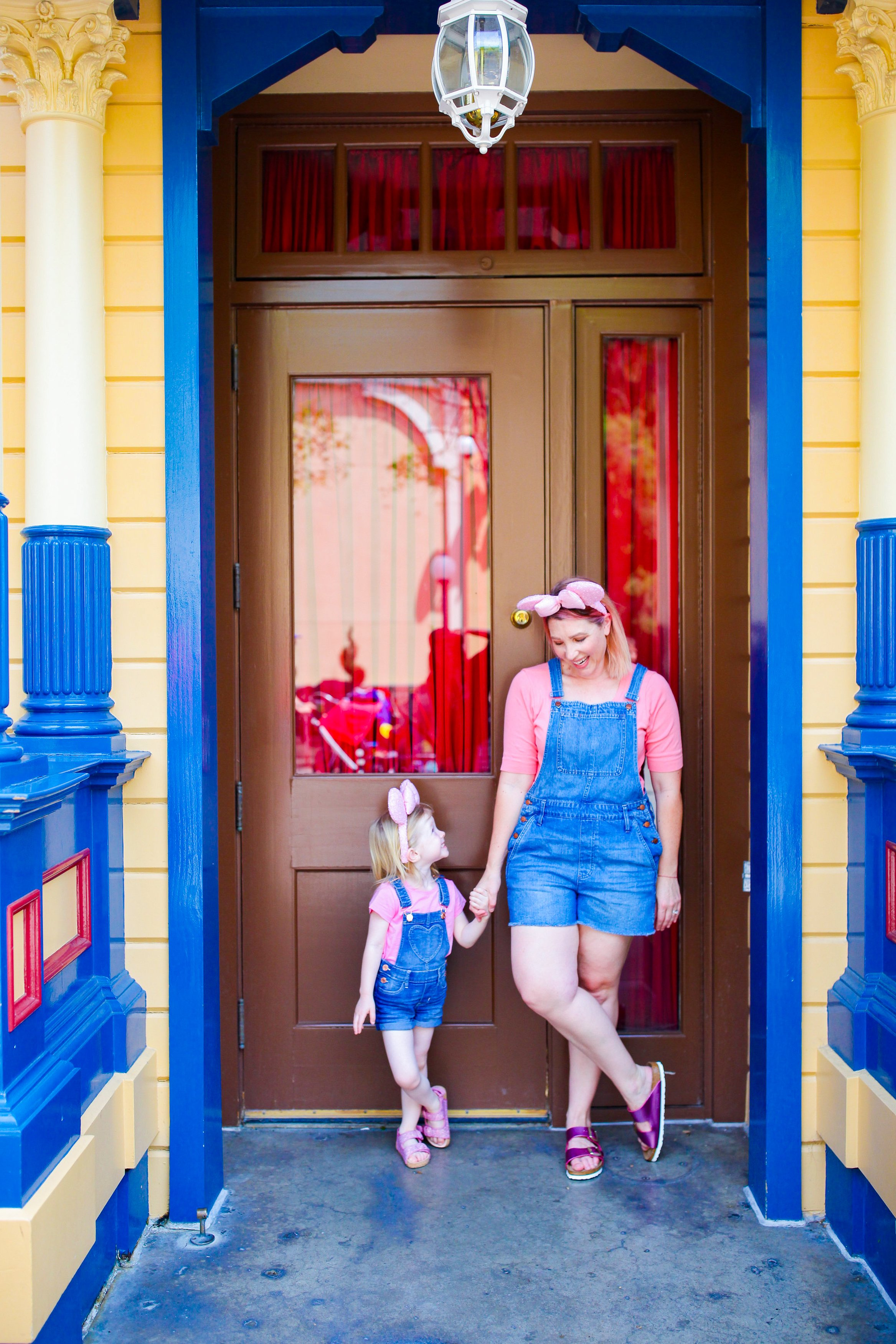 Disneyland Outfits: I love those short overalls and pops of pink!