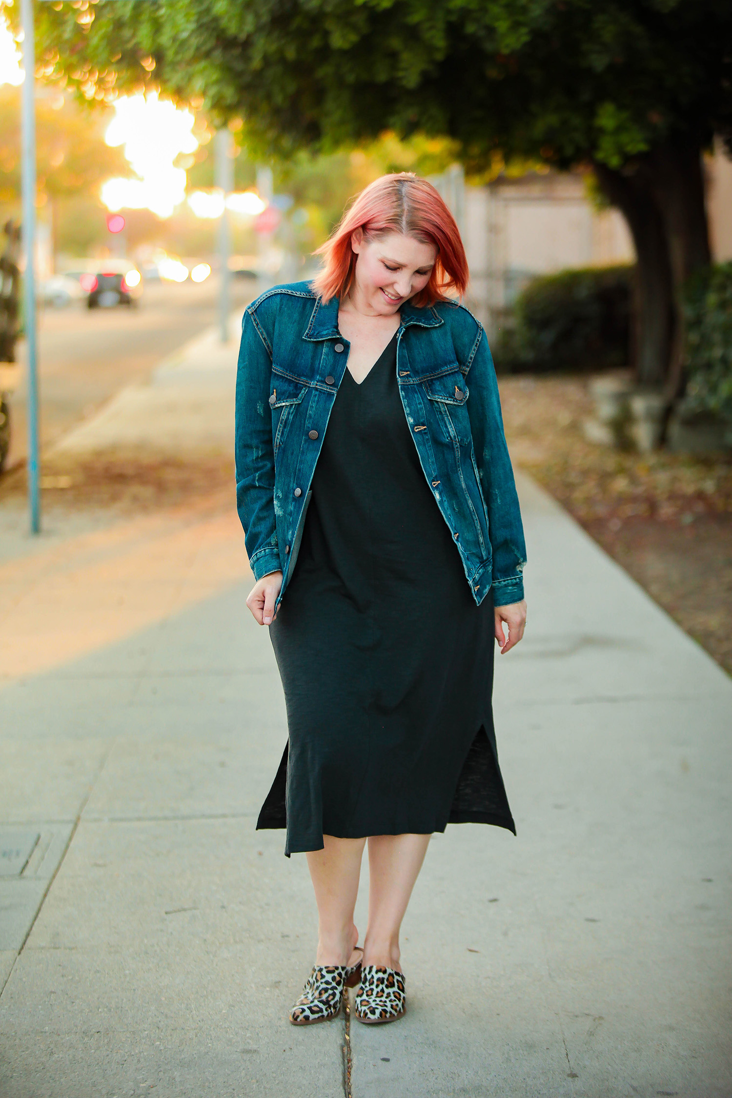 Classic Jean Jacket: Out of all the t shirt dress outfit ideas I've seen lately, this is the most wearable! I love the simple jacket and mule shoes!