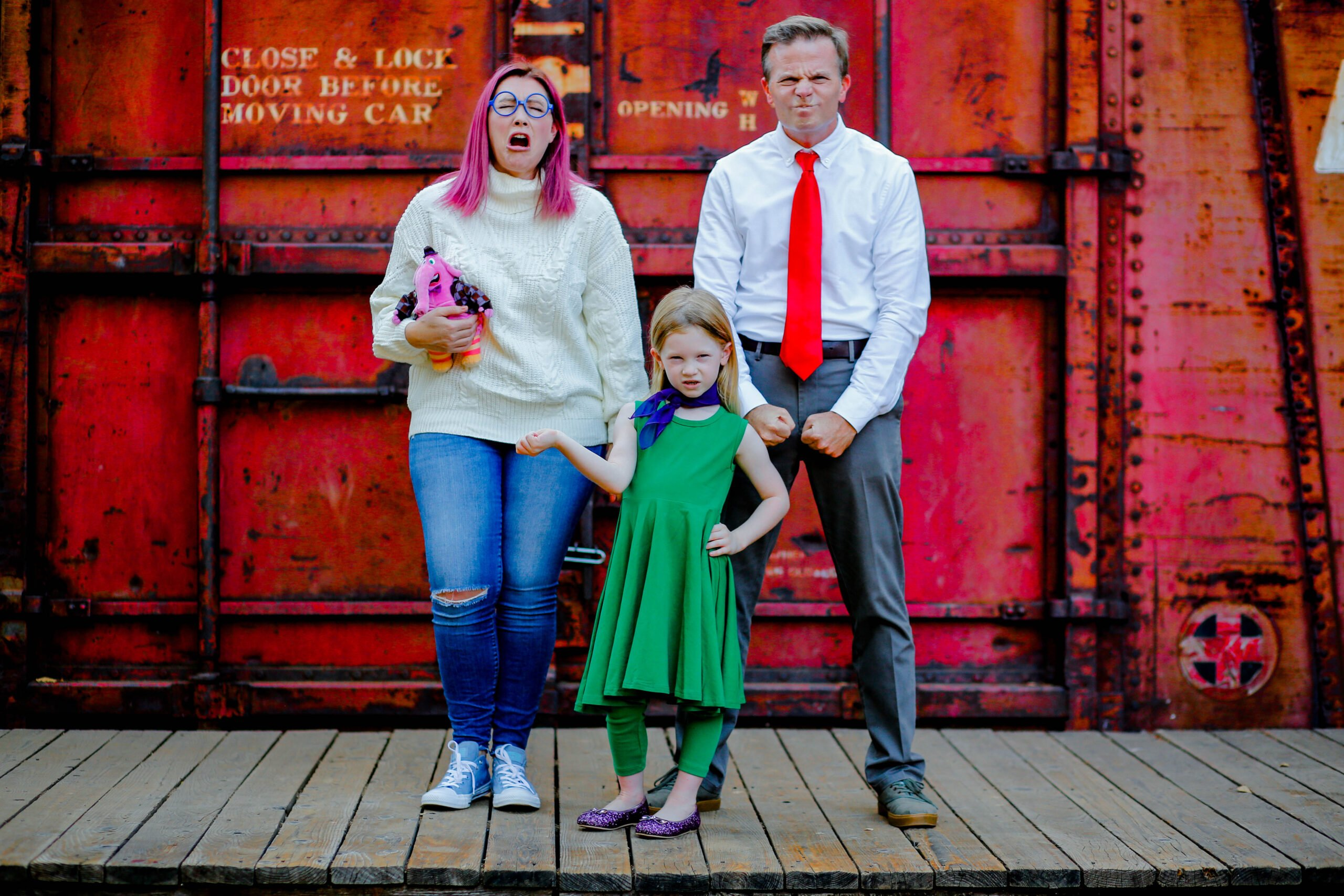 Inside Out Family Costume: This is the perfect family costumes for 3 idea for Halloween!