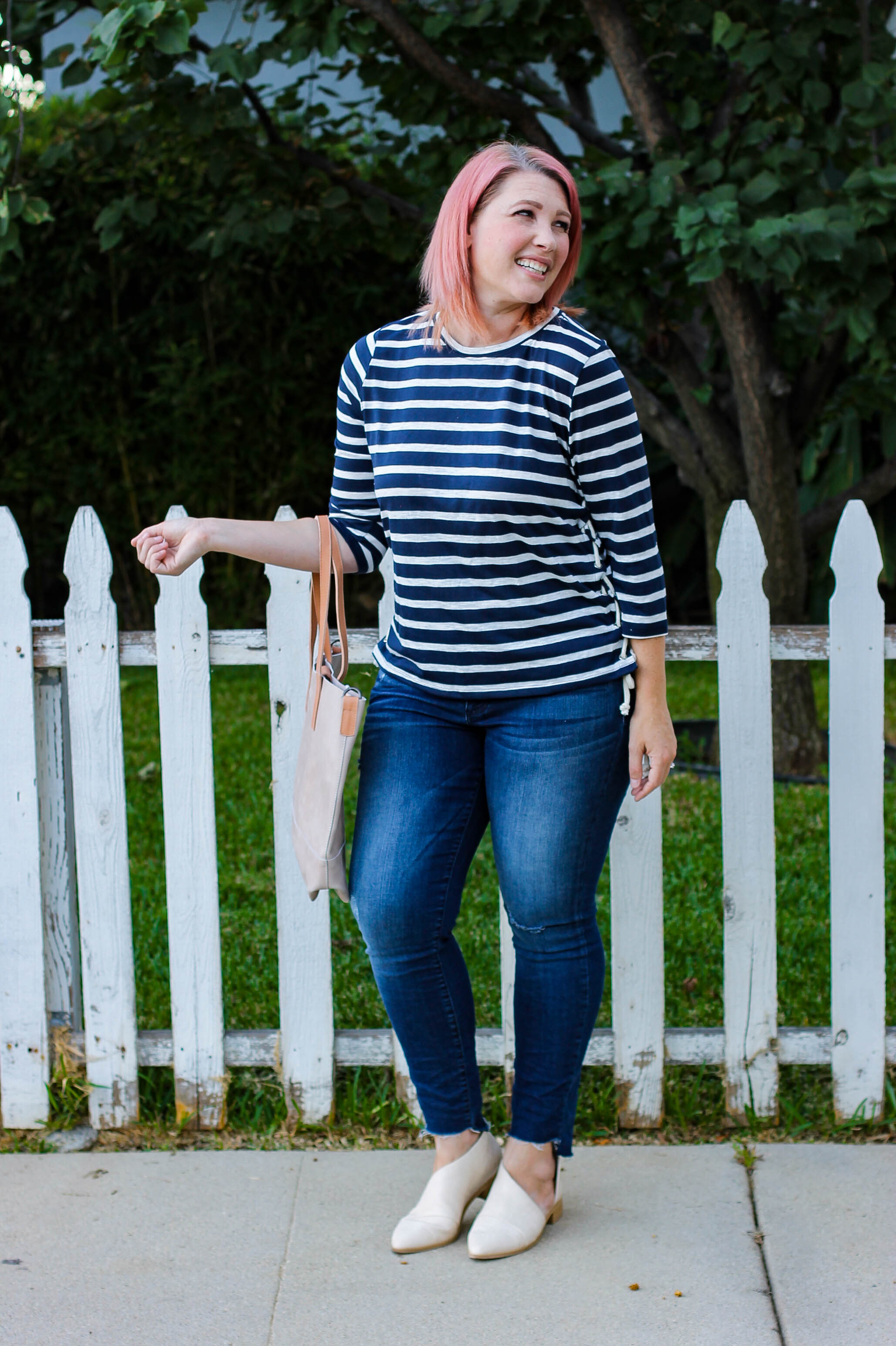 Stitch Fix Review October 2018: I love this Lucie Side Detail Knit Top, it's perfect for casual fall outfits!