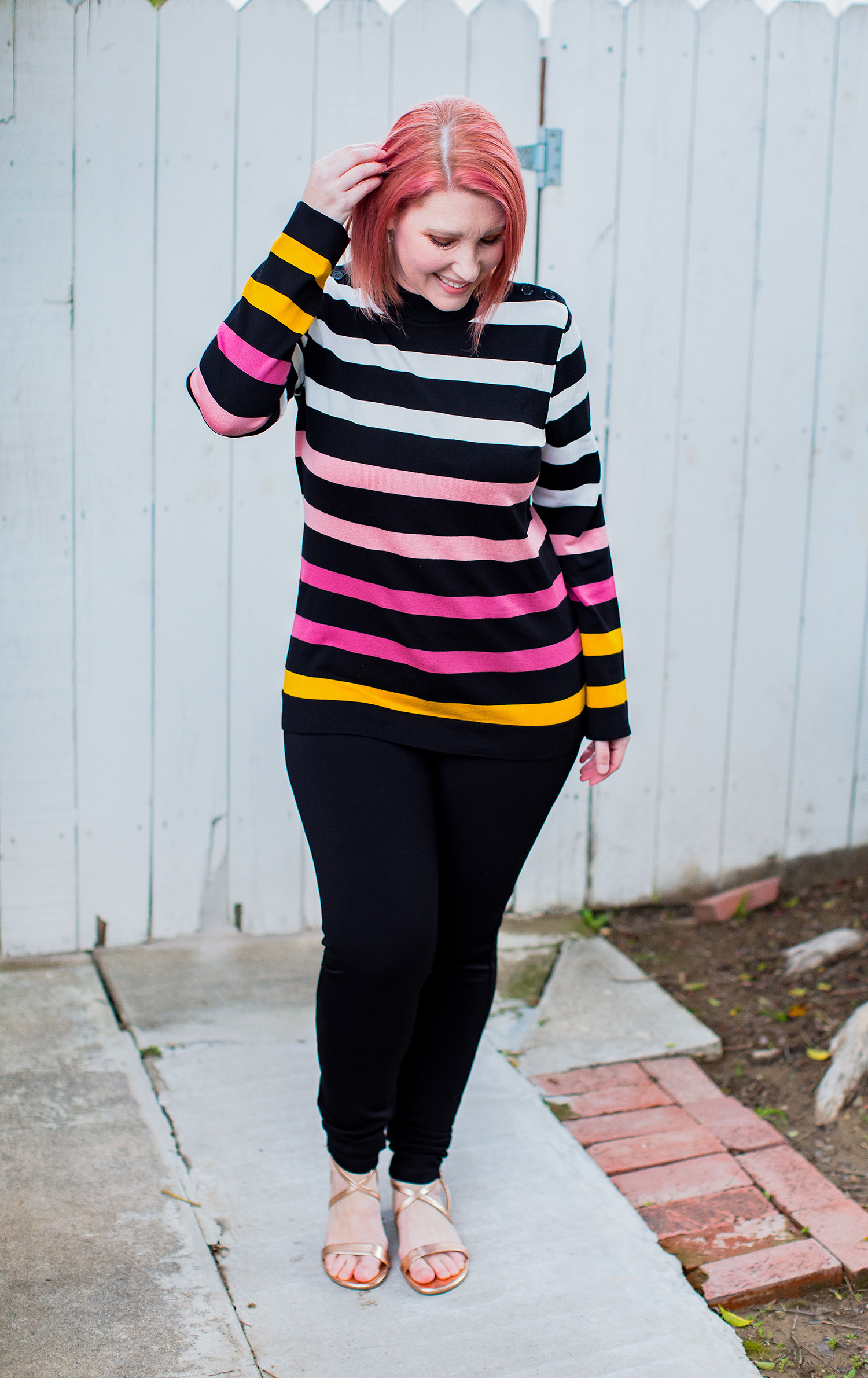 Little Black Pant ALERT: If you're looking for great black pants for a pear shaped body, these Liverpool Jacqueline Skinny Pants fit like a dream!  They're part of the Stitch Fix Review March 2019 over on Lipgloss and Crayons!