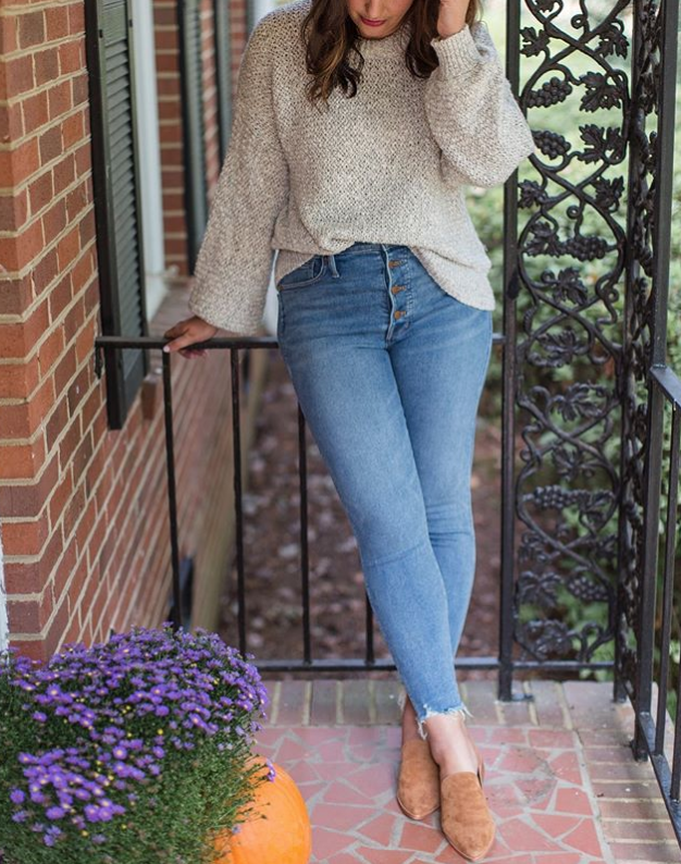 Fall Outfit Inspiration: High Waisted Jeans and booties