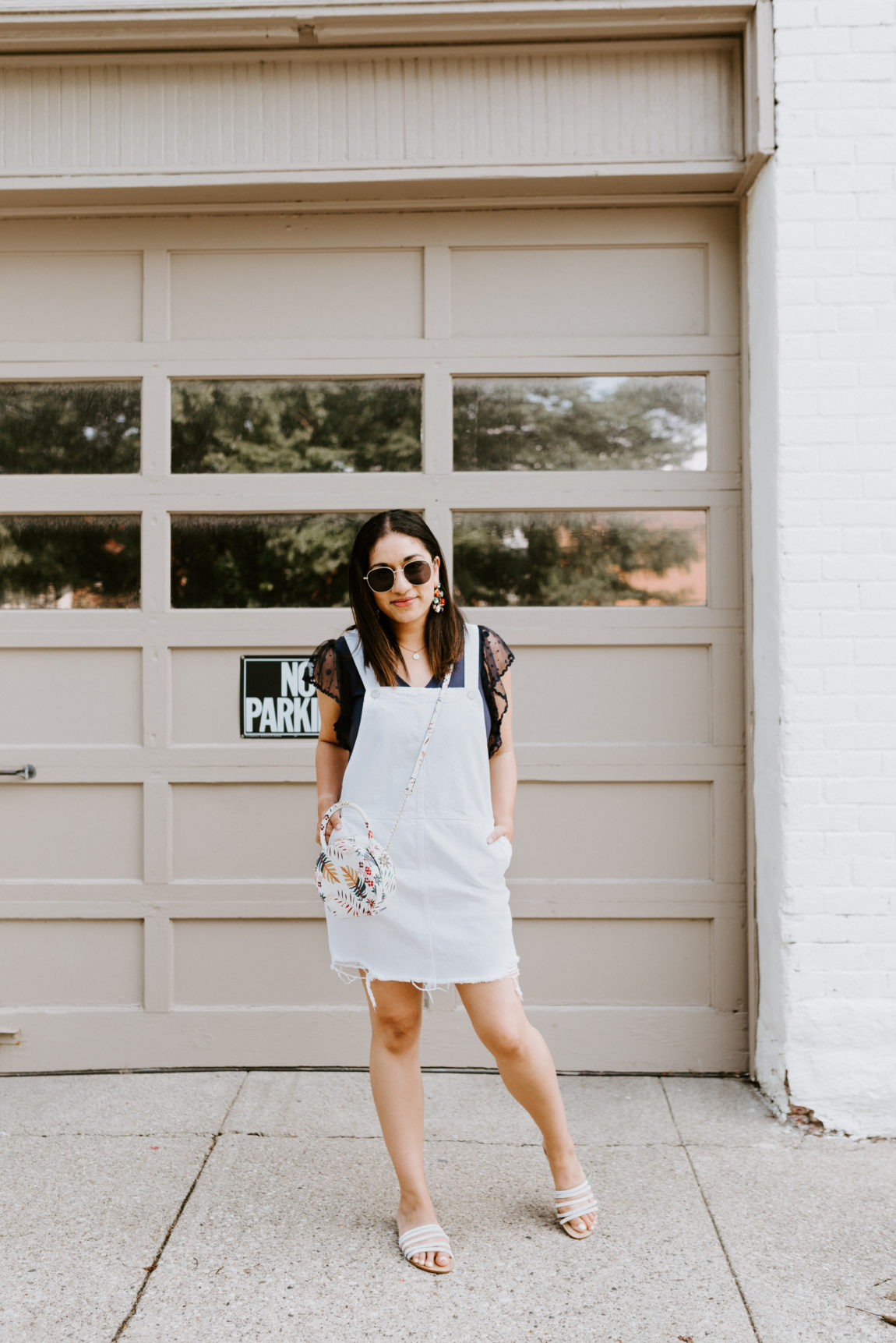 On the hunt for an overalls dress? This white version is adorable!
