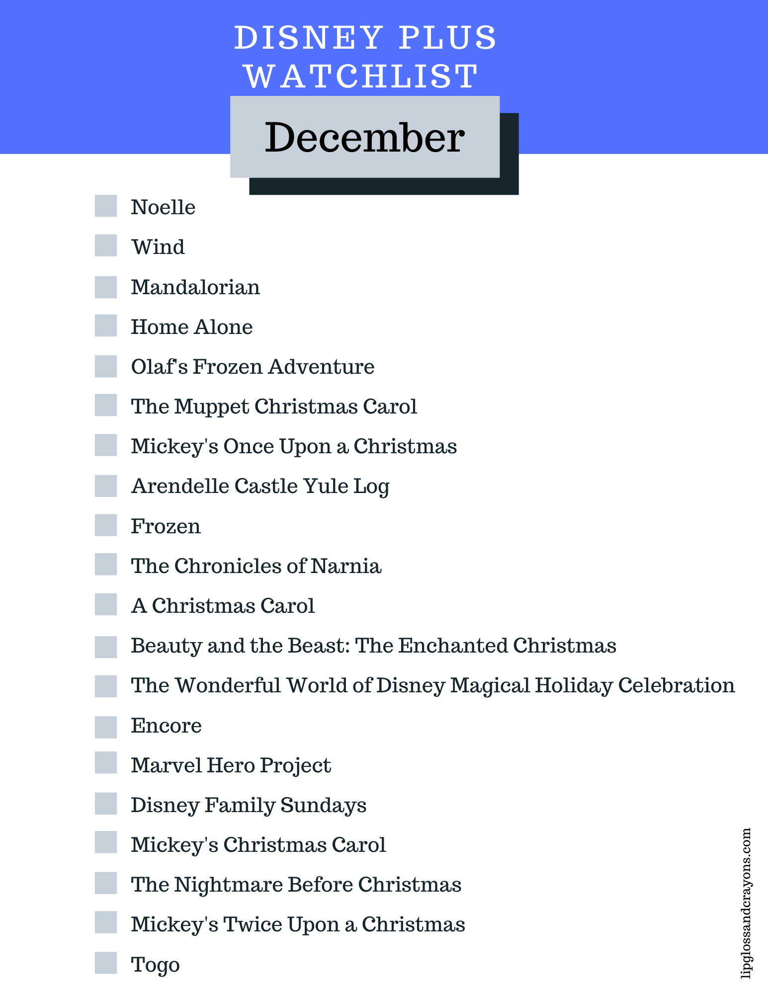 Looking for a list of Disney Plus movies to watch? This is the complete free printable Disney Plus Watchlist for December!