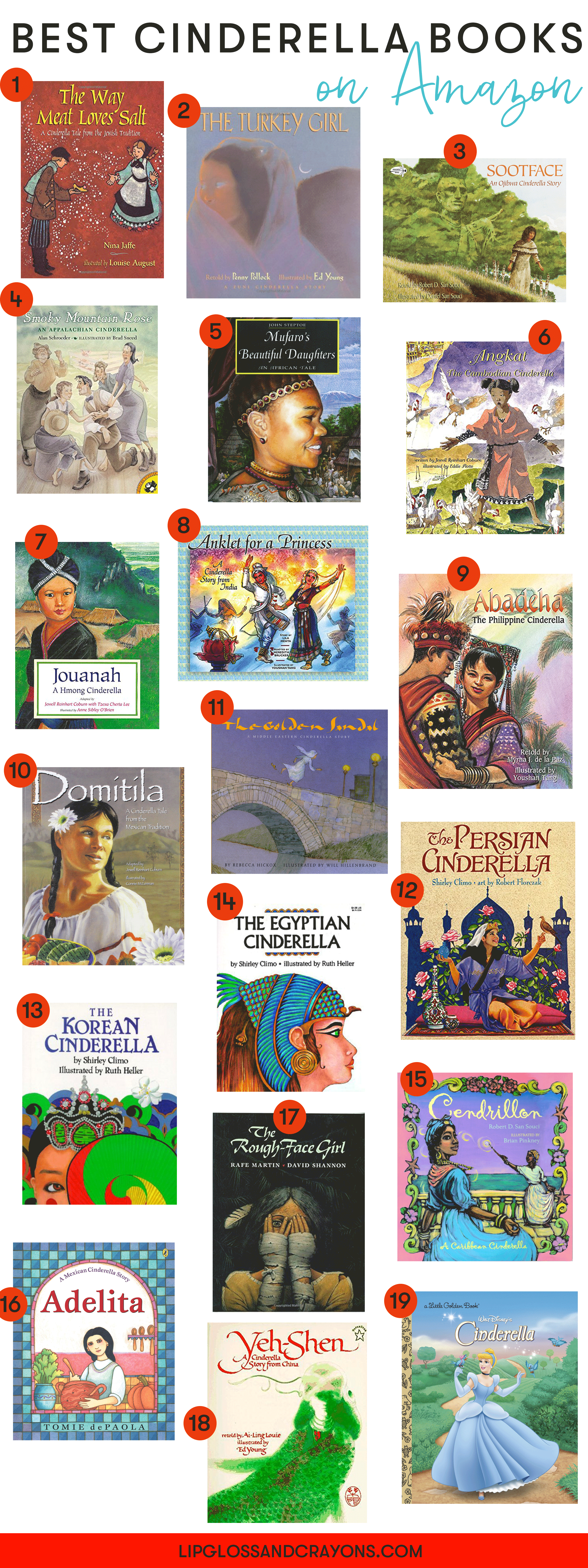 On the hunt for diverse books for kids? This list of Cinderella books reflects 19 different cultures and countries and is a great place to start!