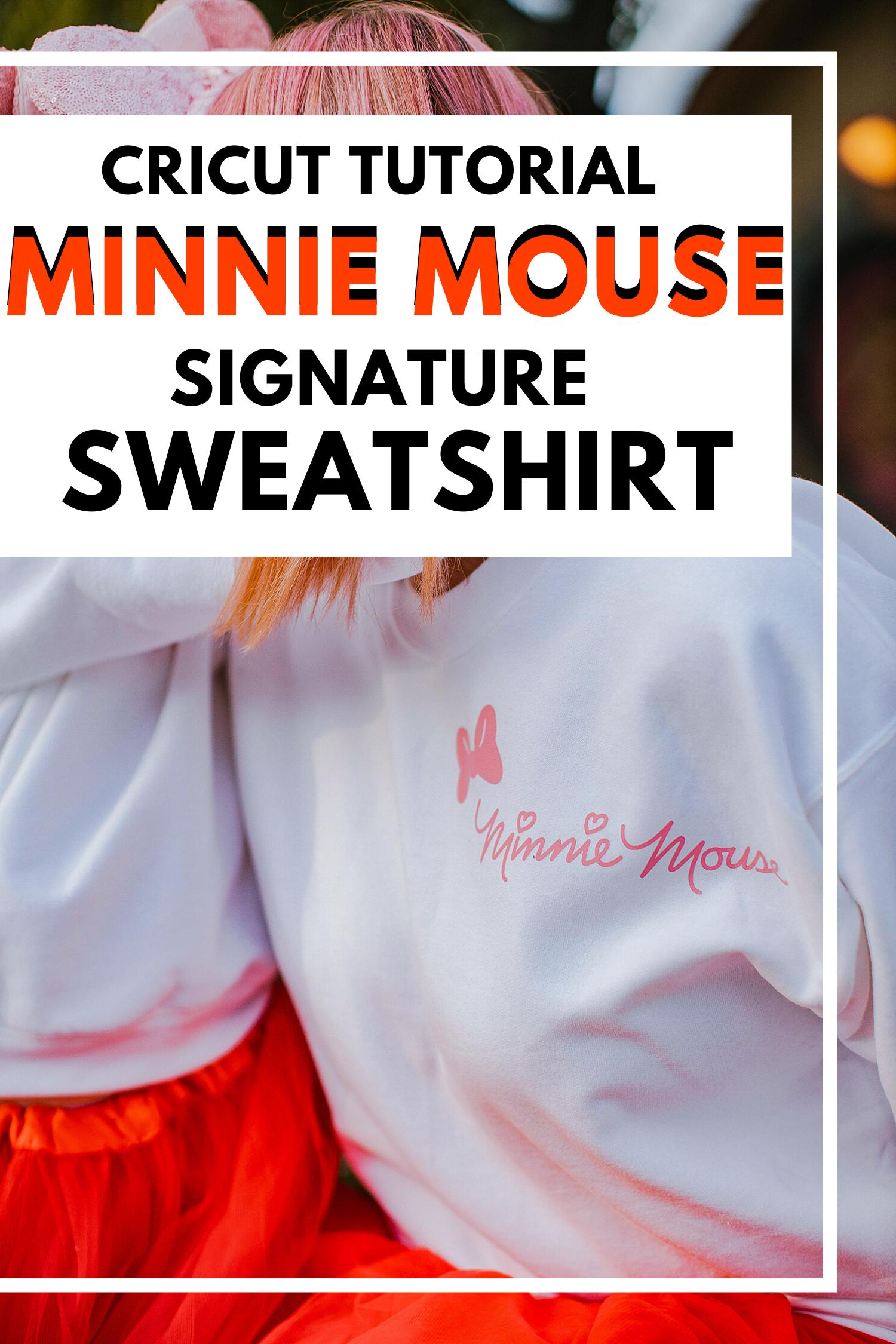 On the hunt for Disneyland Outfits? This DIY Minnie Mouse Sweatshirt is a super easy Cricut Tutorial. #cricutdisneyshirt #disneyshirt