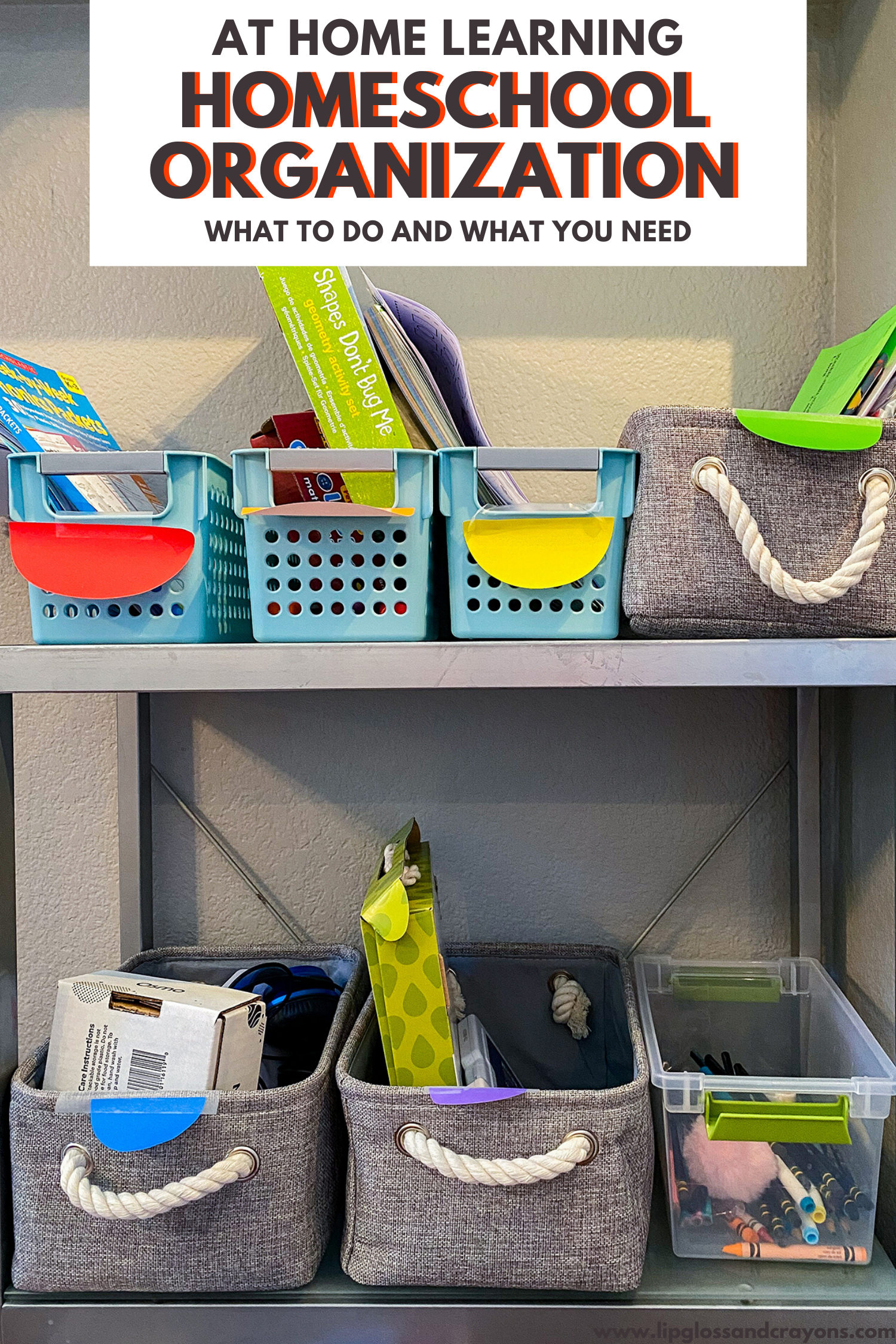 Are you suddenly homeschooling? And looking for organization ideas? This Homeschool Organization system will help your child be more independent and help YOU keep everything from taking over the house!