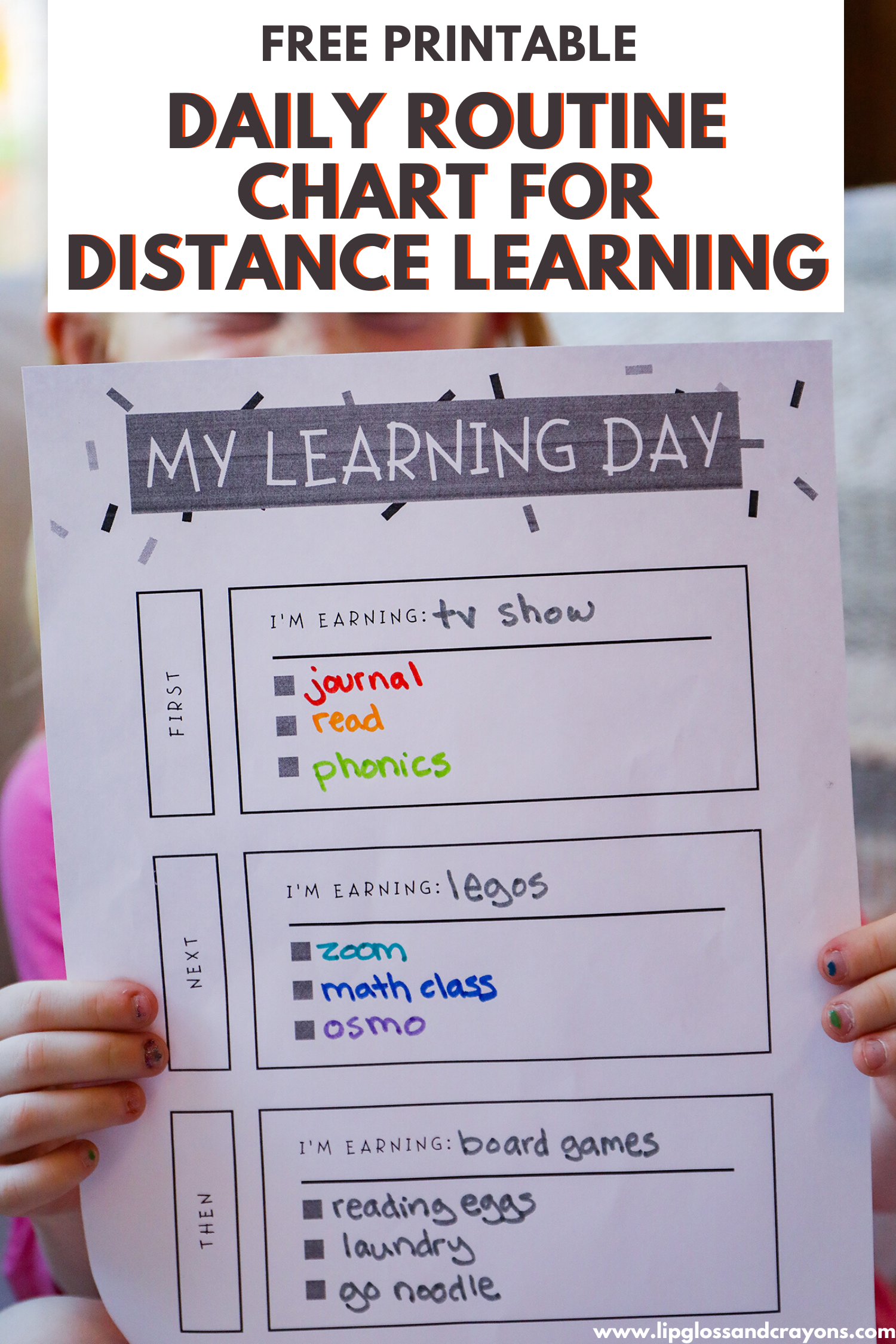 My Learning Day Daily Routine Chart Printable Lipgloss And Crayons