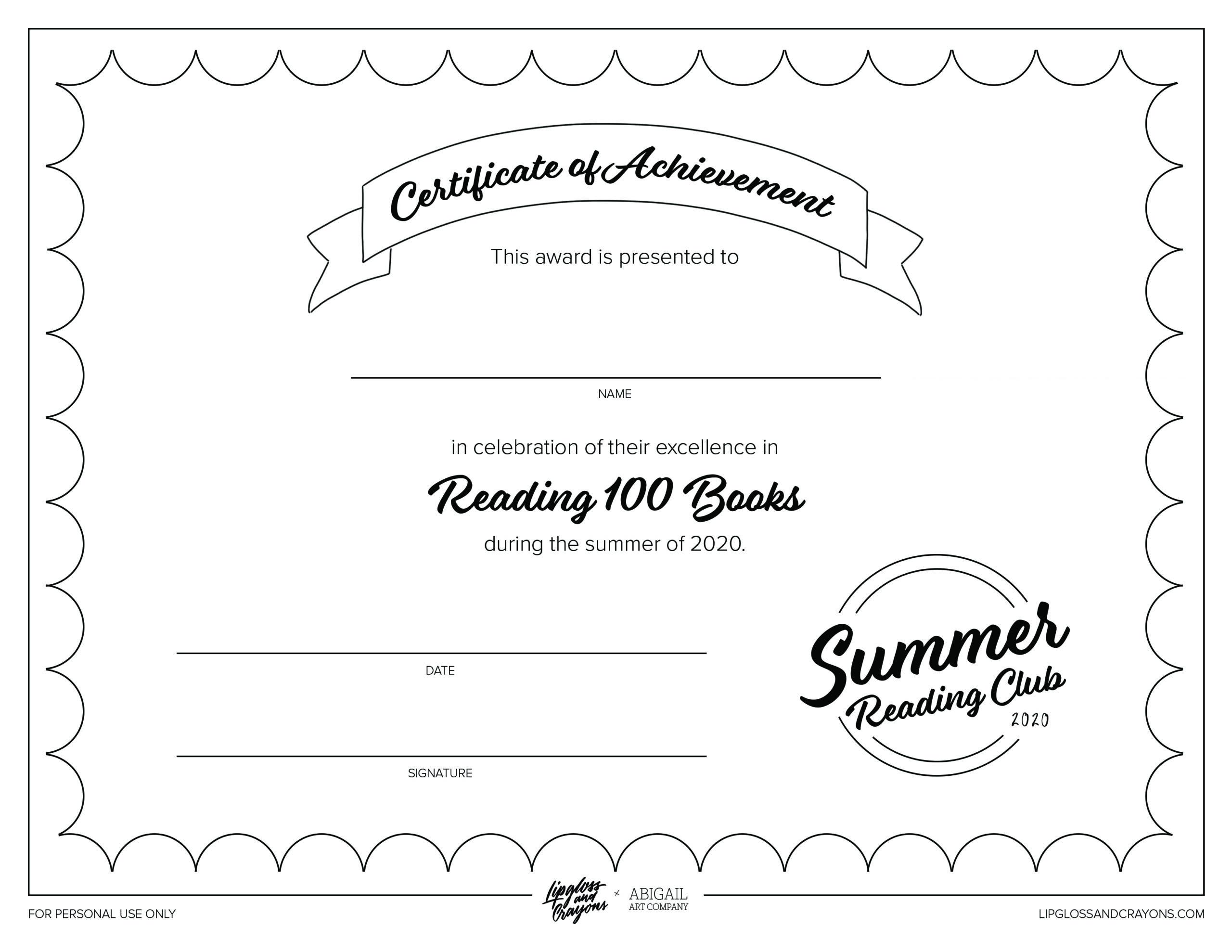 Free Printable Reading Certificate