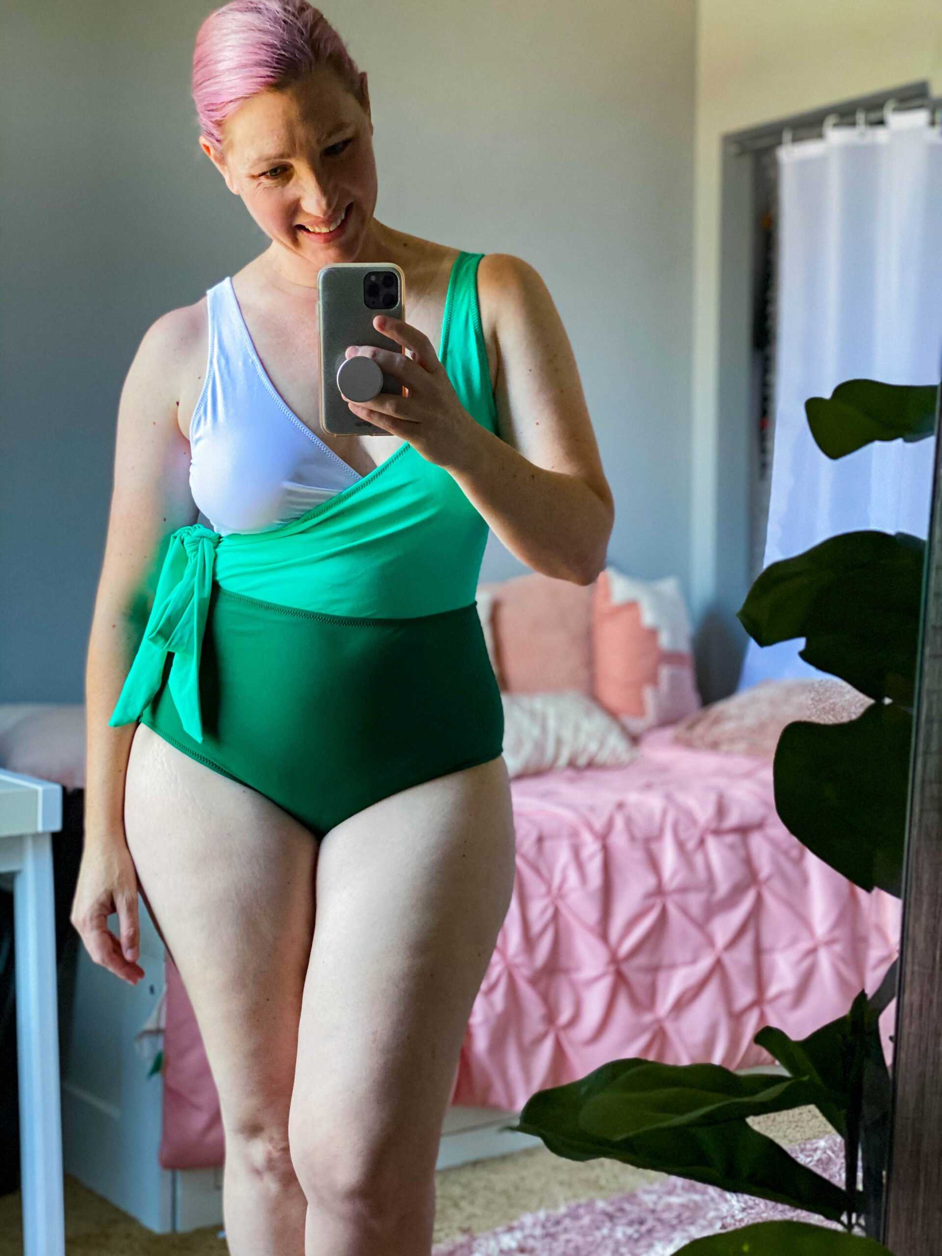 colorblocked swimsuit: isn't this wrap suit adorable?