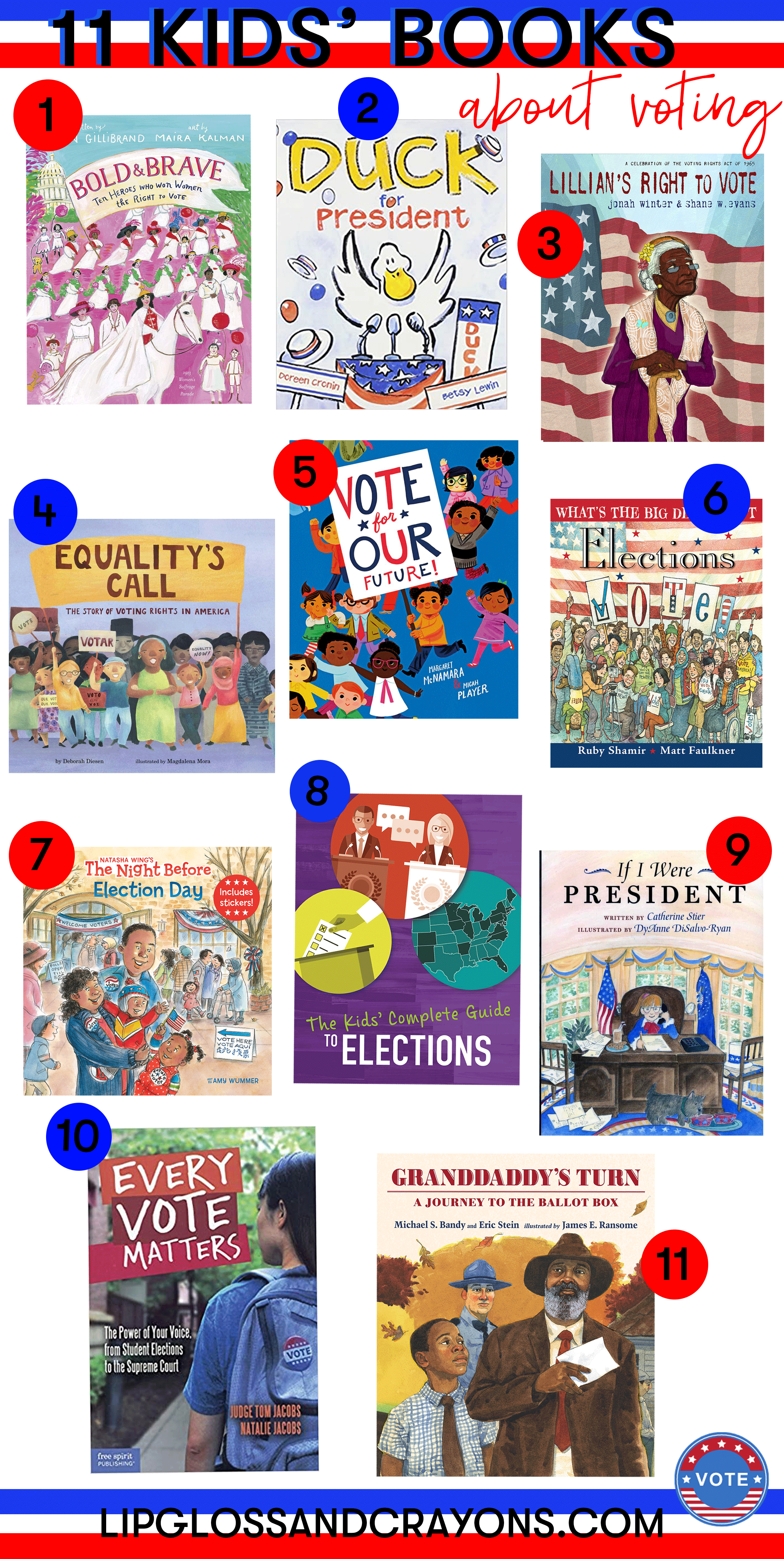Looking for kids books about voting? These 11 books are perfect ways to talk to your children about voting and elections!