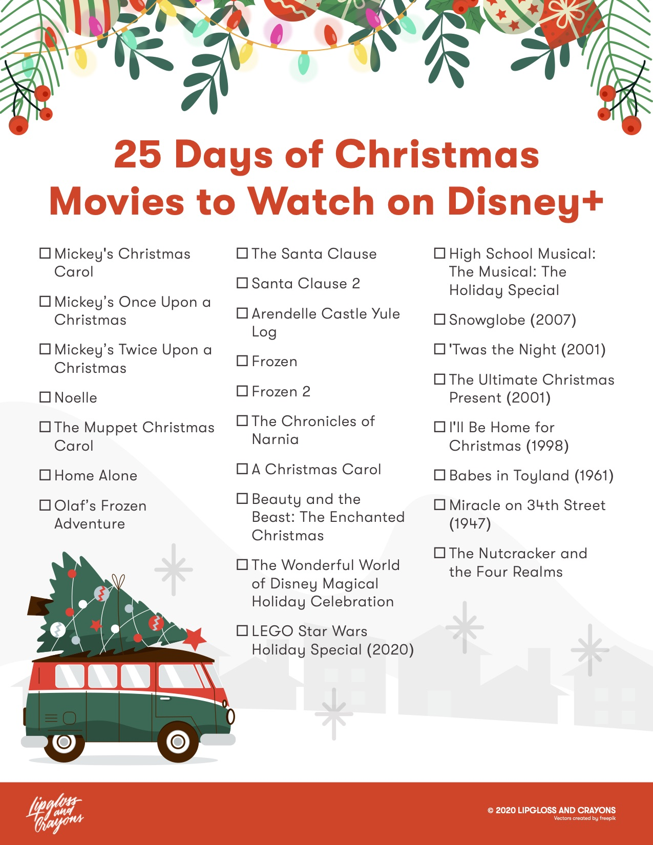 Gearing up for the holidays? This 25 Days of Christmas Disney+ checklist is the ultimate Disney Christmas Movie watchlist!