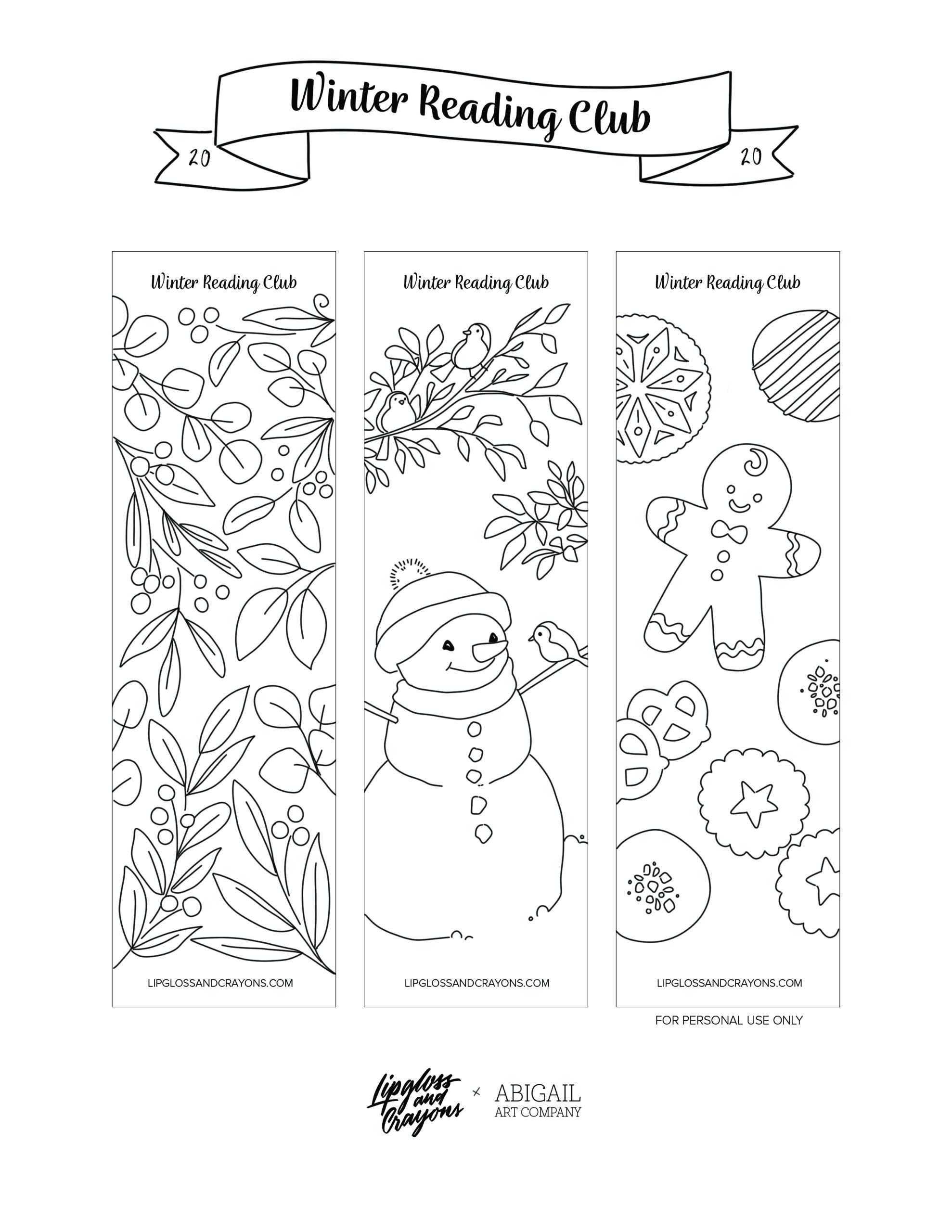 Printable winter bookmarks