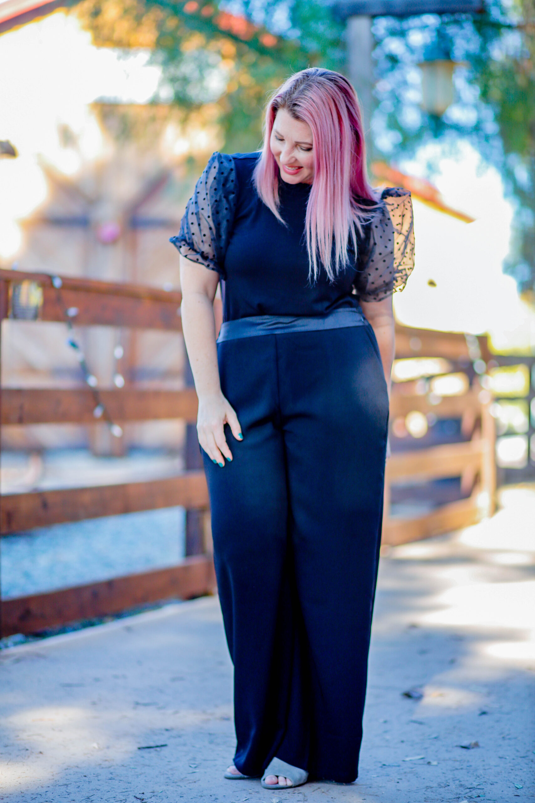Christmas Eve Outfits: I love these wide leg pants and that blouse? ADORABLE!