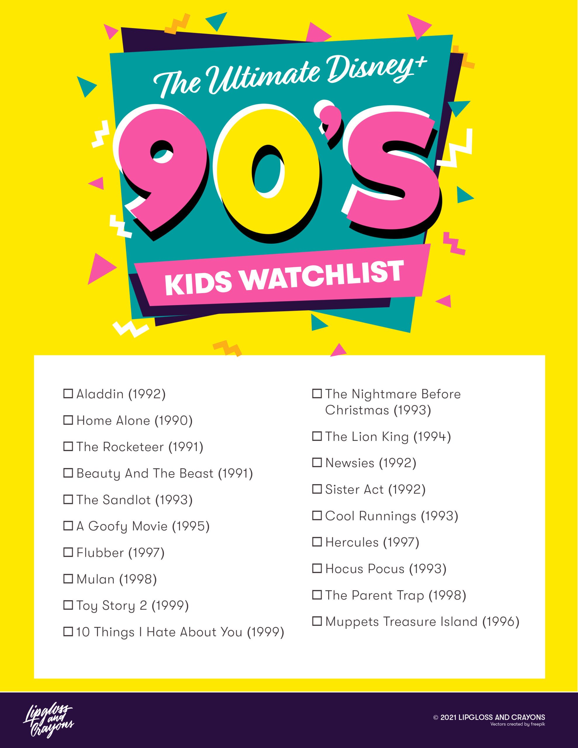 Love Disney Plus Watchlists? This? Is the Ultimate Disney Watch list for 90s kids.....and every film listed is on Disney+ now!