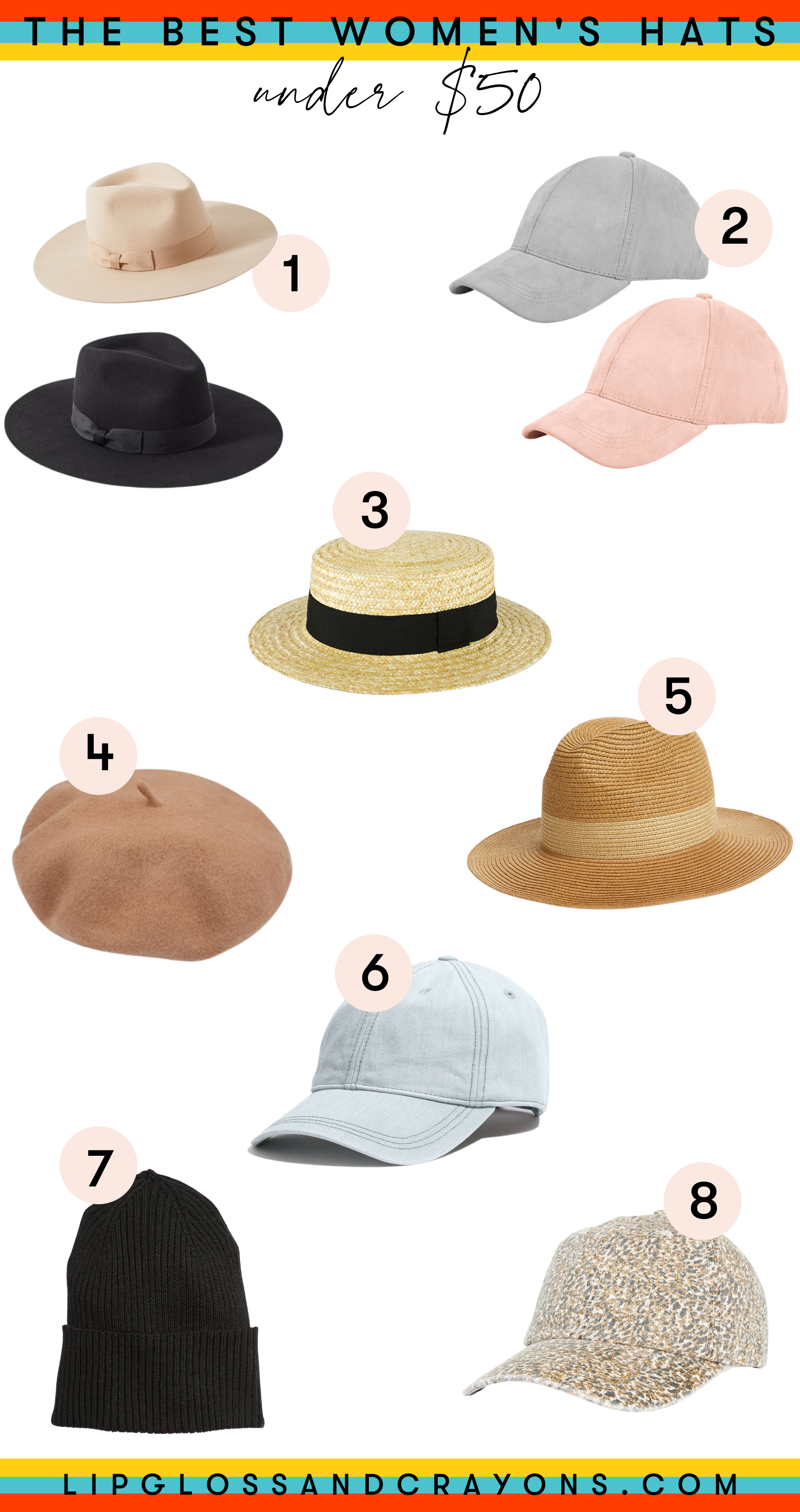 On the hunt for the best hats for women that won't break the bank? From baseball hats to fedoras.....these are the great womens' hat option for under $50.