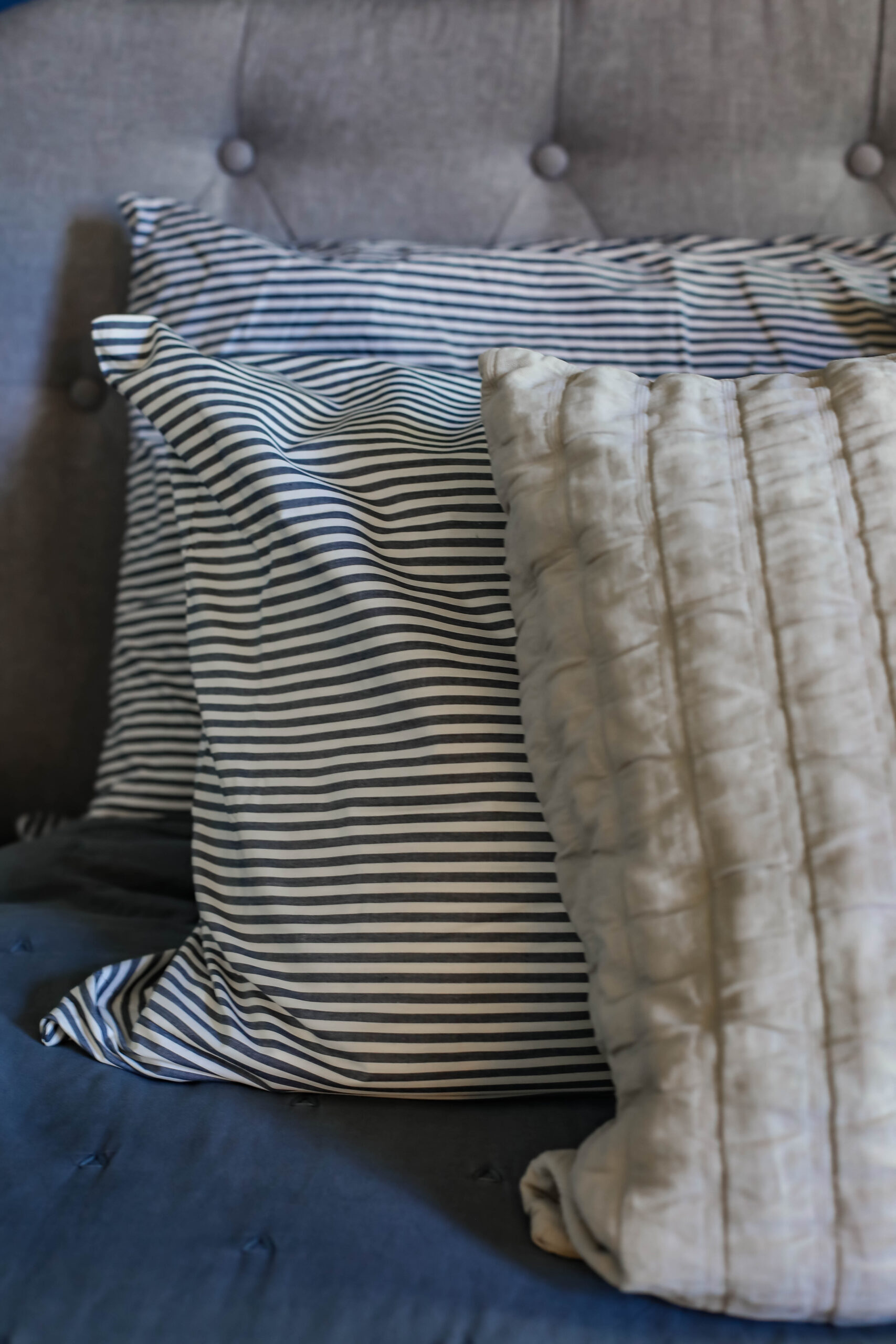 On the hunt for blue striped bedding? This is the perfect shade of blue!
