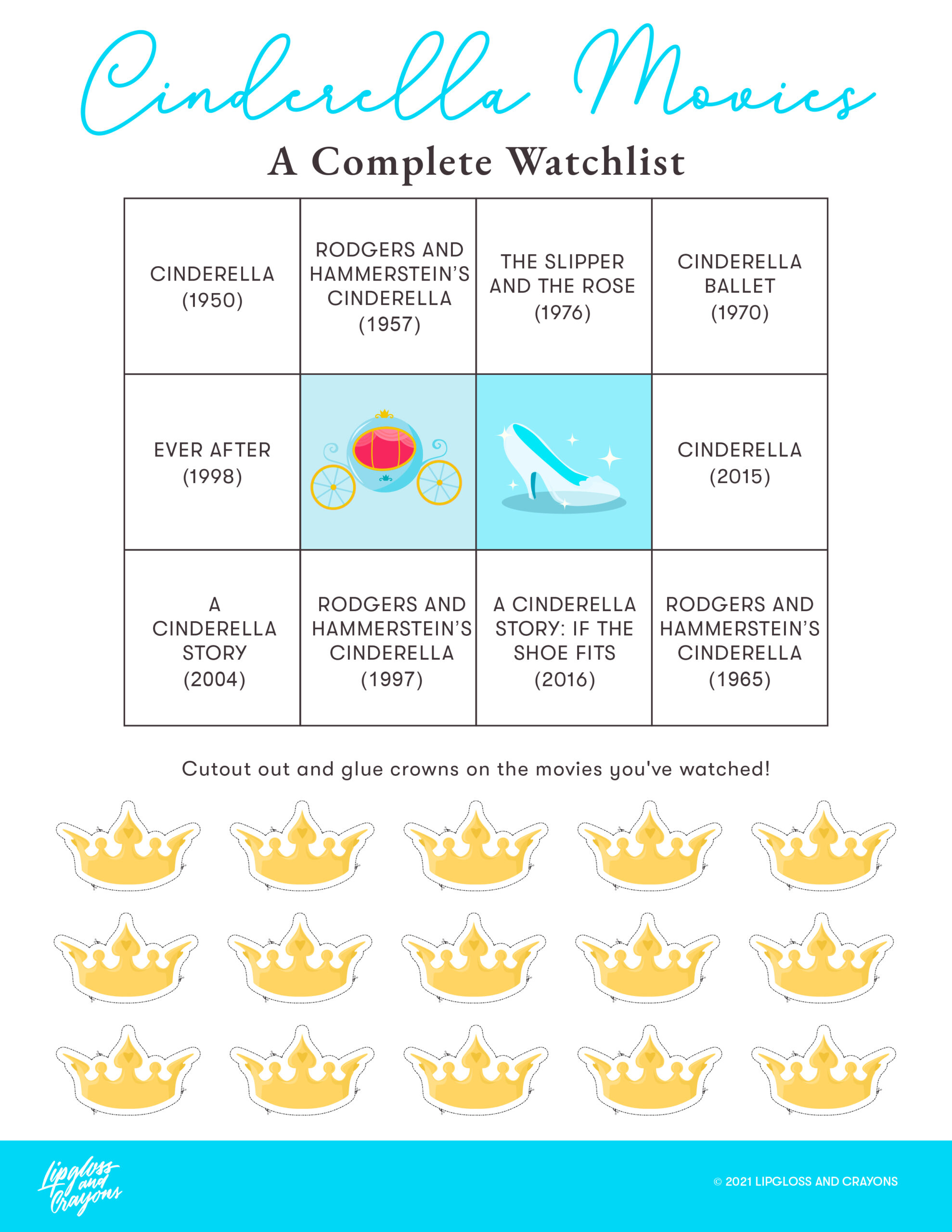 Free Printable: This list of Cinderella movies will tell you all the best ones and where to find them! And the bingo board is a ton of fun to complete!