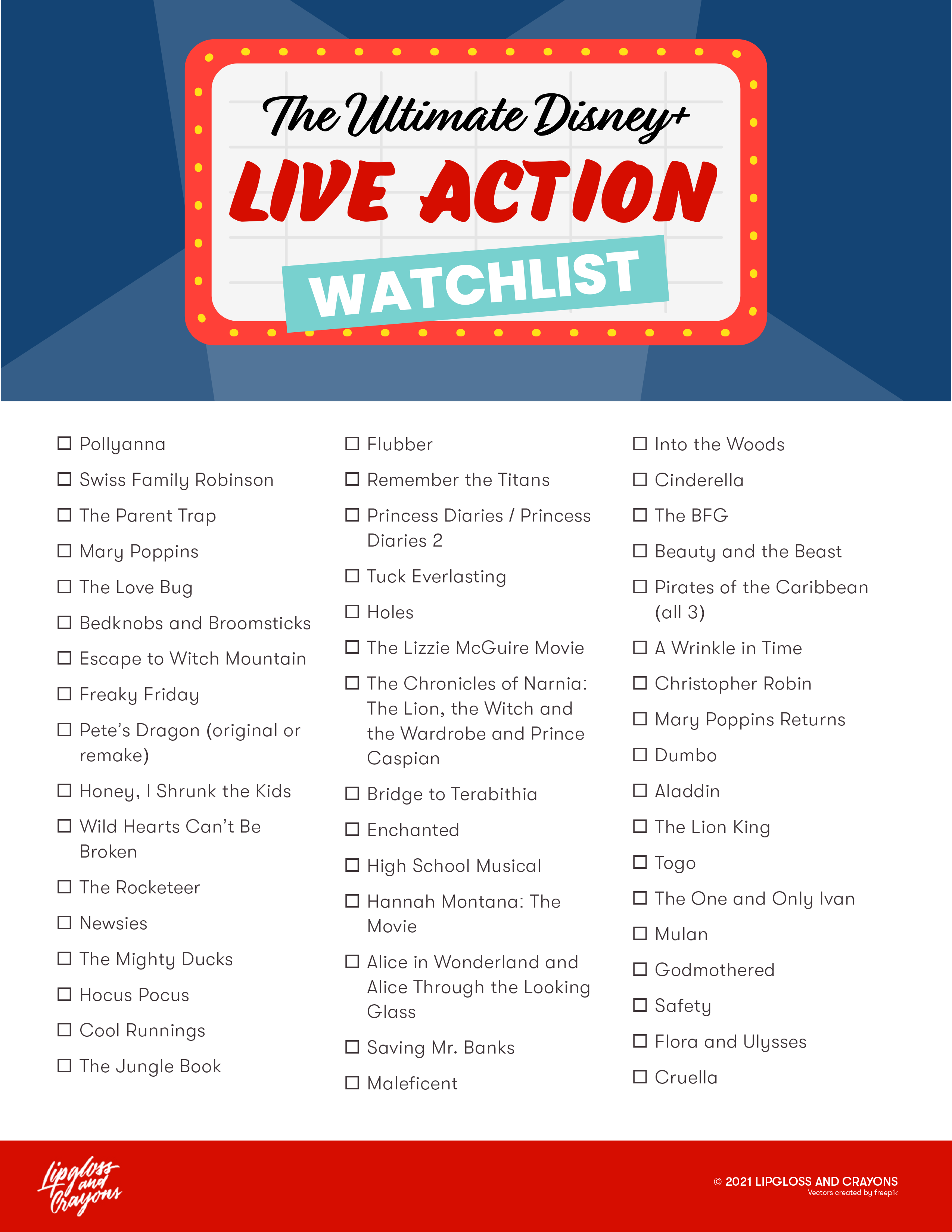 Looking for a Disney Watch List? These are the Top 49 Disney Live Action Movies.....summer is the perfect time to watch through all of them!