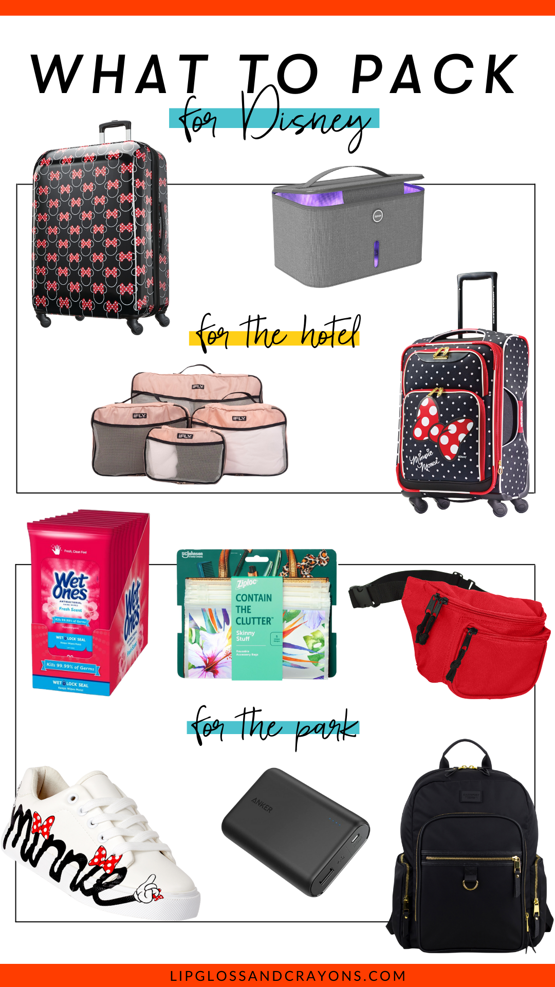 Looking for info on what to pack in your Disney Suitcase? These are the most important items you'll need for both the hotel and the park!!!
